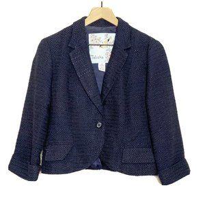 Tabitha Navy Blue Tweed Cropped 3/4 Sleeve Blazer